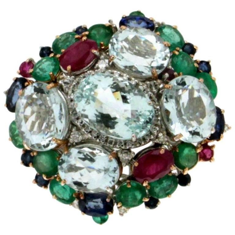 Aquamarine Gold Rubies Emeralds Sapphires Diamonds Cocktail Ring