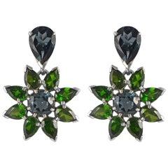 Emma Chapman London Blue Topaz Chrome Diopside Silver Earrings