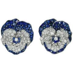 Pair of Sapphire and Diamond Pansy Pins