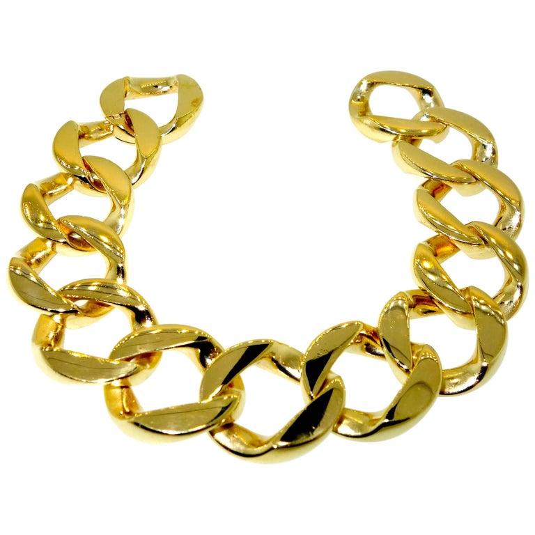 Heavy Gold Curb Link Bracelet For Sale