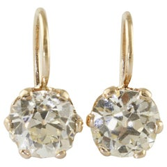 4.33 Carat, Color L VS1, Purity and Color Yellow Gold, Earrings