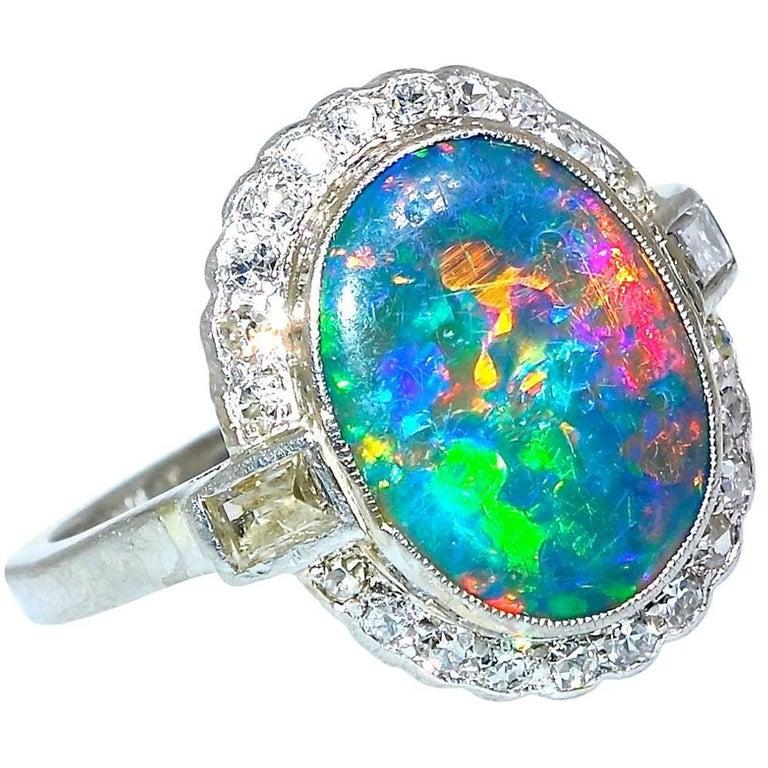 Platinum, Diamond and Lightening Ridge Black Opal Art Deco Ring