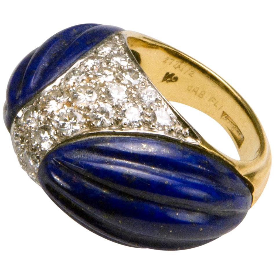 1970 Kutchinsky Carved Lapis Lazuli, Pavé-set Diamond and Gold Ring