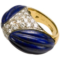 1970 Kutchinsky Carved Lapis Lazuli, Pavé-set Diamond and Gold Ring