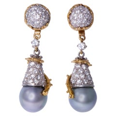 Charles de Temple, London, 1970s, Pearl, Diamond and Gold Day/Night Earrings