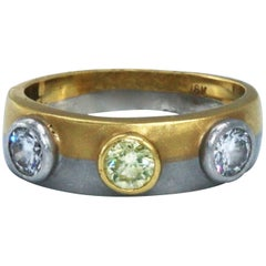 Fused Platinum and Gold and Diamond Band Ring