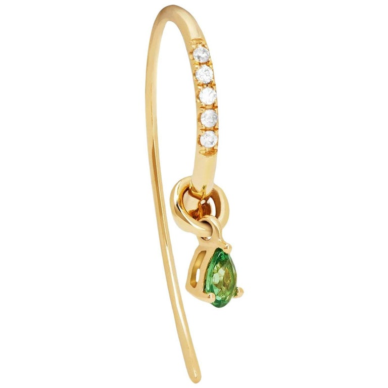 Yvonne Leon's Earring in 18 Karat Yellow Gold with Diamonds and Tsavorites