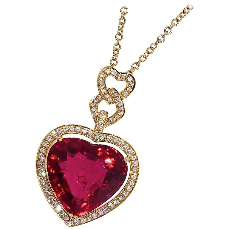 Fine Rubelite and Diamond Pendant Necklace