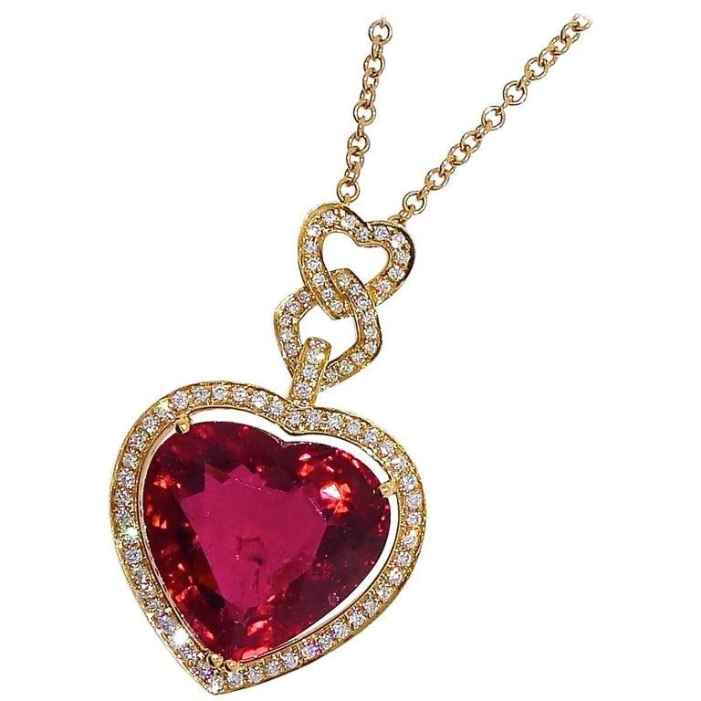 Fine Rubelite and Diamond Pendant Necklace