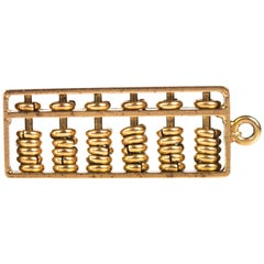 1930s Abacus Charm, 14 Karat Yellow Gold
