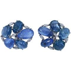 Burma Sapphire and Diamond Cluster Earclips