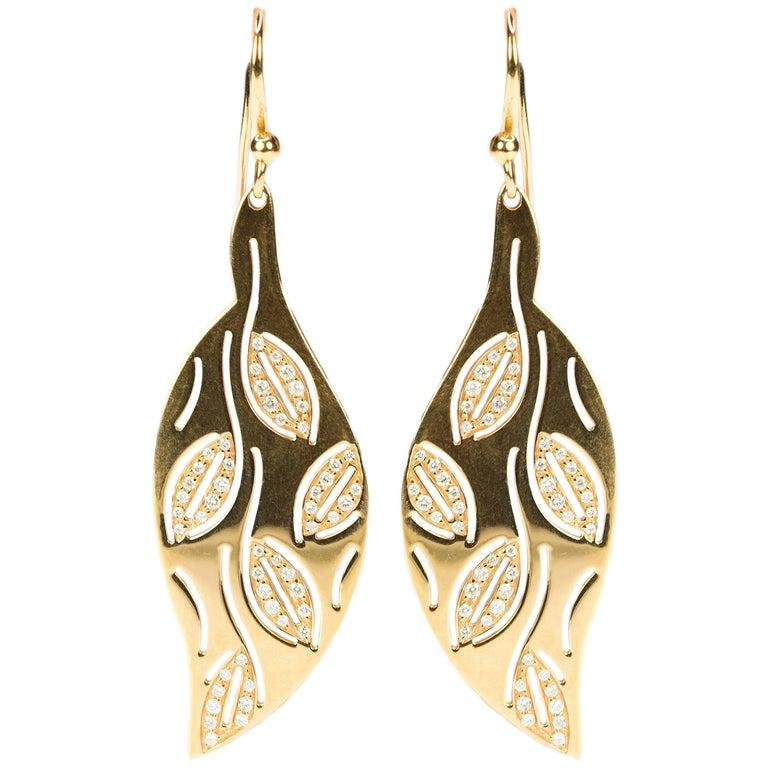 Gianni Bulgari Gold and Diamond Leaf Motif Earrings