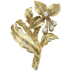 Diamond and Gold Flower Brooch