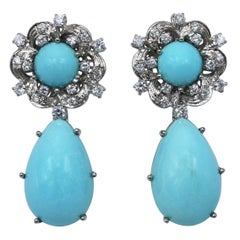 Natural Turquoise and Diamond Pendant Earclips