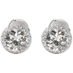 Tiffany & Co. Diamond Halo Studs in Platinum 2.77 Carat