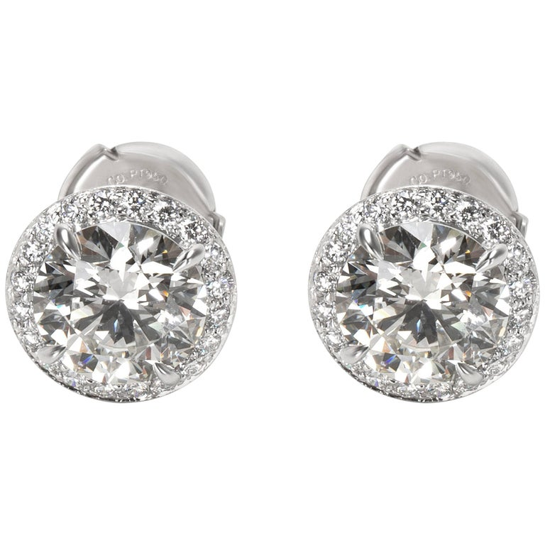 Tiffany & Co. Diamond Halo Studs in Platinum 3.90 CTW For Sale