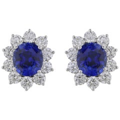 8.21 Carat Sapphire and 3.81 Carat Diamond Cluster Earrings
