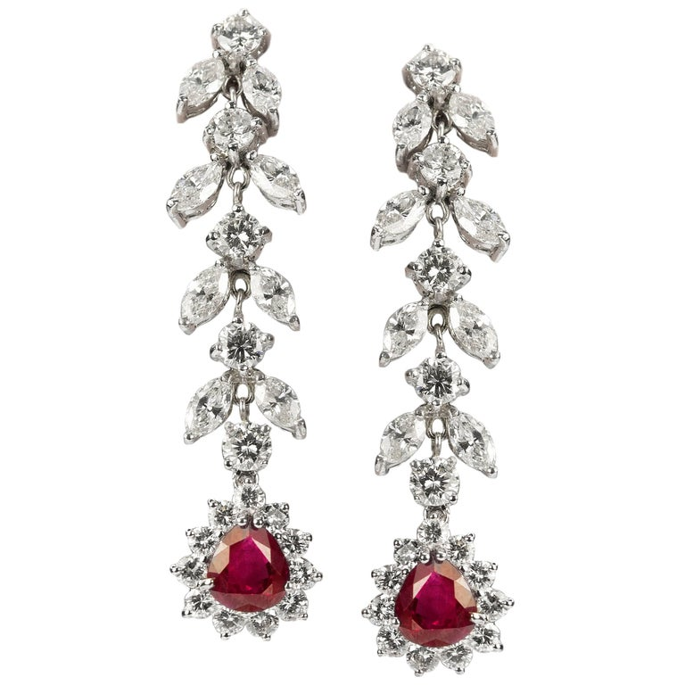 Burma Ruby and Diamond Gold Earrings