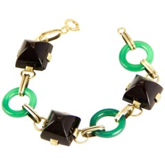 14 Karat Chrysoprase and Onyx Art Deco Bracelet