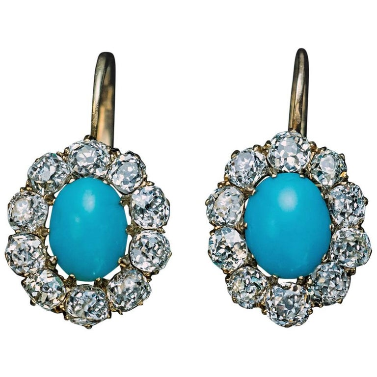 Antique Turquoise Diamond Gold Cluster Earrings