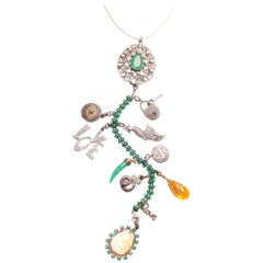 Clarissa Bronfman Emerald, Diamond, Silver, Gold 'Divina' Symbol Tree Necklace