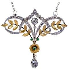 Belle Époque Antique Diamond Emerald Platinum Gold Necklace