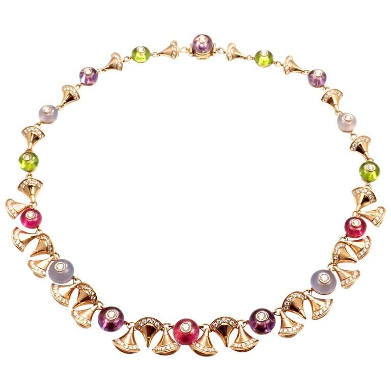 Bulgari Diva Dream Diamond Amethyst Rubellite Peridot Rose Gold Necklace