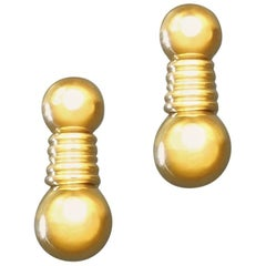 Boucheron Gold Clip Post Drop Earrings, France, 1980s-1990s