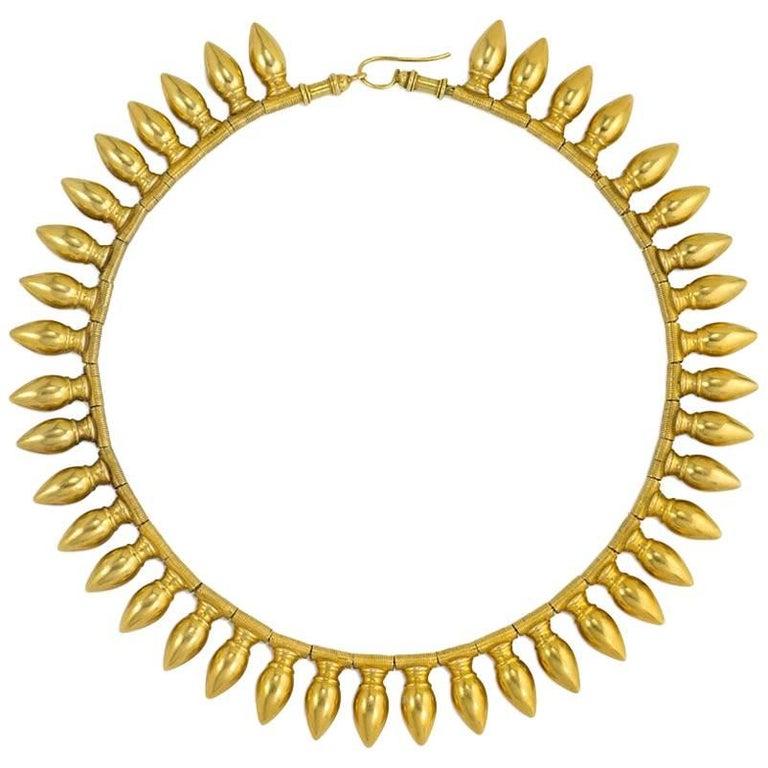 Antique Gold Amphora Fringe Necklace, Vatican Marks