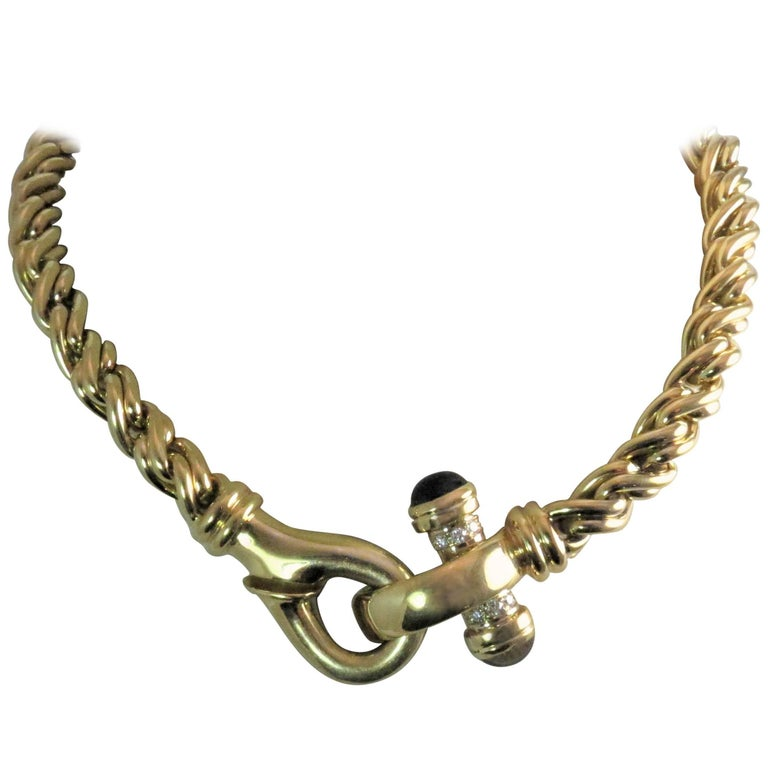 18 Karat Yellow Gold Link Necklace with Diamonds and Iolites