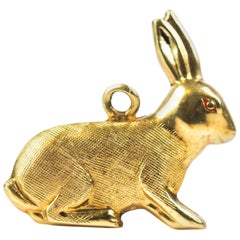 1950s Bunny Rabbit Charm Pendant, 14 Karat Yellow Gold