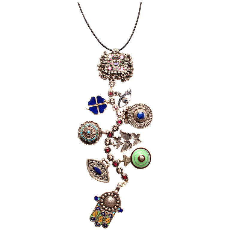 Antique Silver, Lapis, Turquoise, Sapphire 'Casablanca' Symbol Tree Necklace