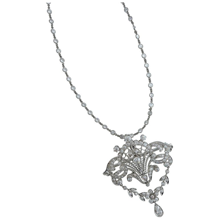 Platinum and Diamond Edwardian Pendant-Necklace