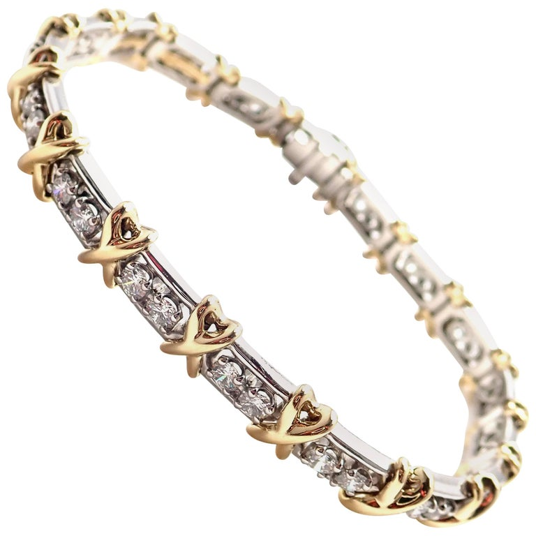 Tiffany & Co. Jean Schlumberger 36-Stone Diamond Platinum Yellow Gold Bracelet