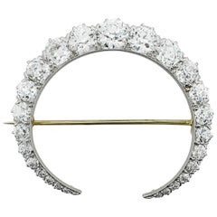 Tiffany and Co. Diamond Crescent Necklace/Brooch in Yellow Gold, circa 1900