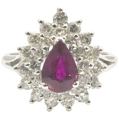 Pear Shape Natural Ruby and Round Brilliant Diamond White Gold Ring