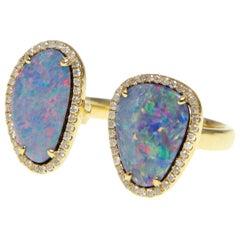 Double Opal Slice Diamond Ring