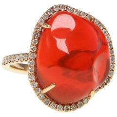 Fire Opal Diamond Cocktail Ring