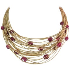 Brand New, Marco Bicego Multi Strand Cabochon Pink Tourmaline Bead Necklace