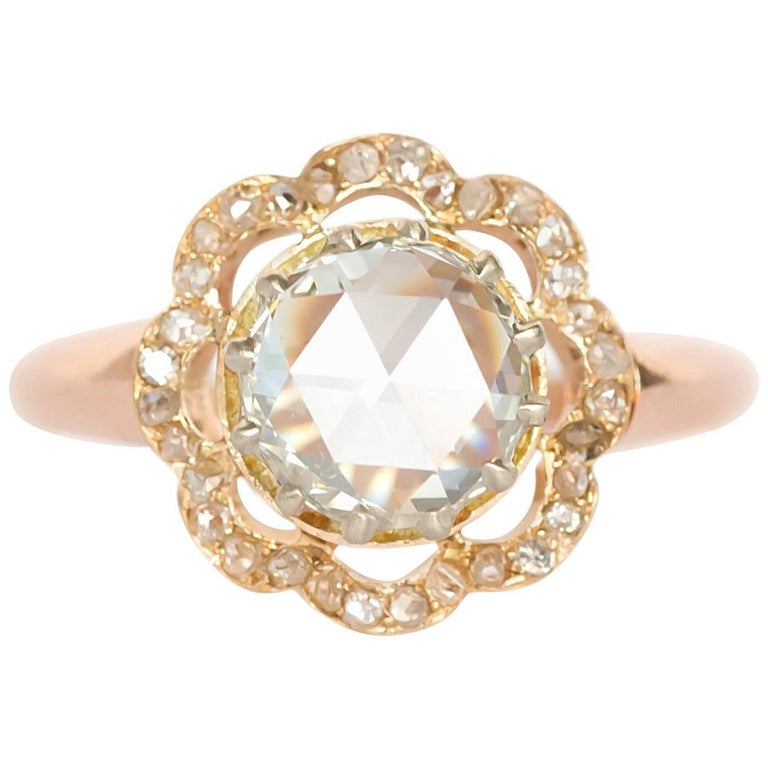 Gia Certified 1 46 Carat Diamond Rose Gold En Ement Ring For Sale
