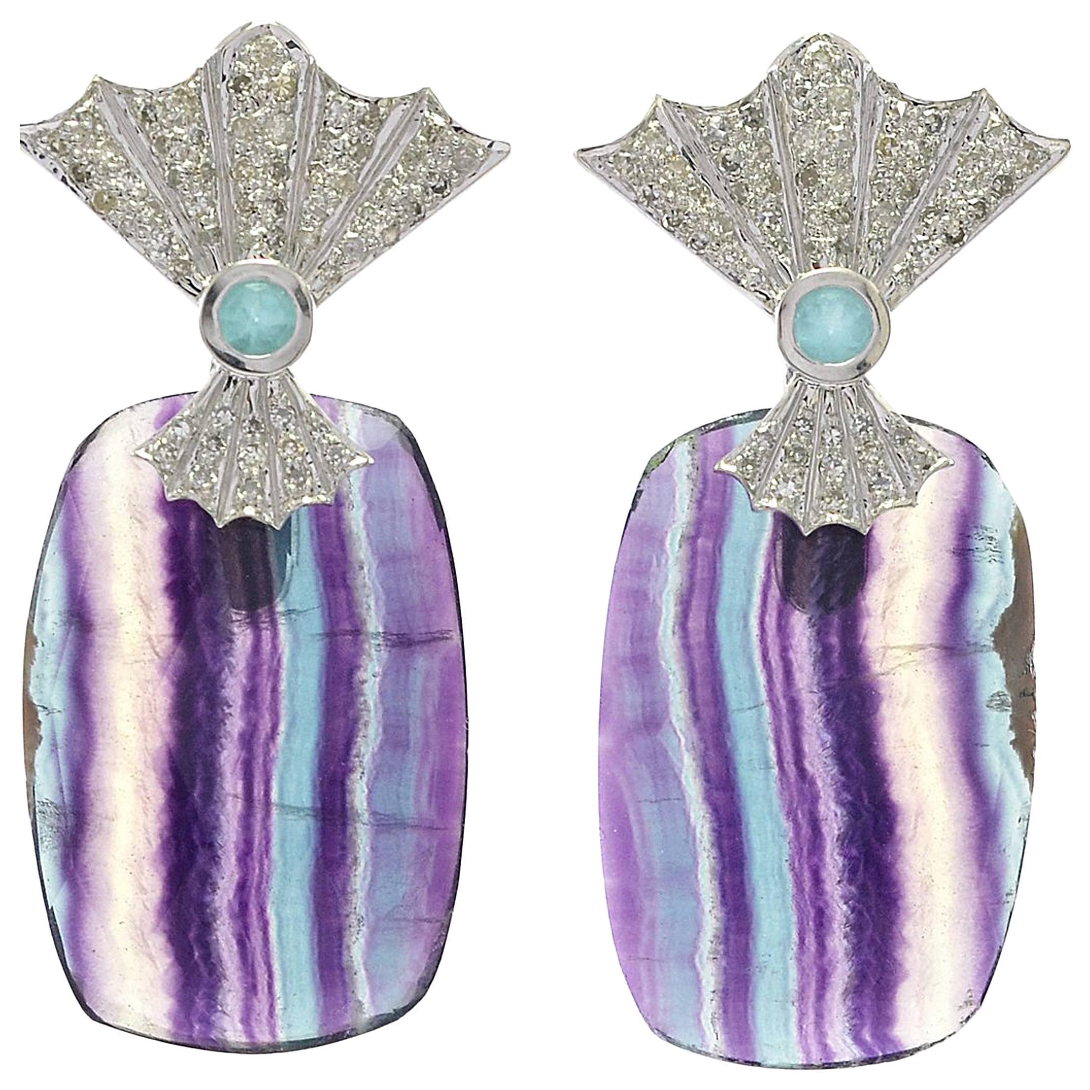 Fan Detail Mixed Gemstone and Diamond Statement Earrings