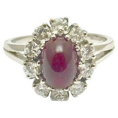 Cabochon Natural Ruby and Round Brilliant Diamond White Gold Ring