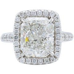 David Rosenberg 4.04 Carat Radiant Cut GIA Halo Diamond Engagement Ring