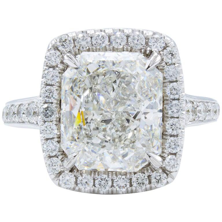 David Rosenberg 4.04 Carat Radiant Cut GIA Halo Diamond Engagement Ring