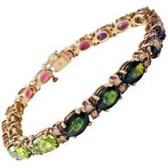 14 Karat Retro Gold Diamond Gemstone Touraline Tennis Line Bracelet