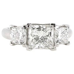Certified 2.01 i-VS2 Princess Cut Three-Stone Diamond Engagement Ring