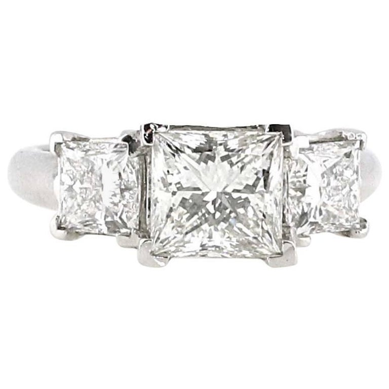 Certified 2.01 i-VS2 Princess Cut Three-Stone Diamond Engagement Ring