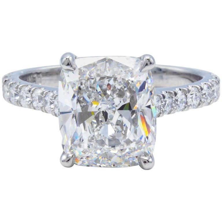 David Rosenberg 3.76 Carat Cushion E/VVS2 GIA Platinum Diamond Engagement Ring For Sale