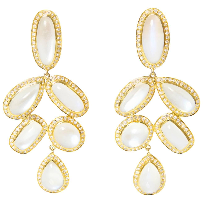 Diamond Moonstone Statement Earrings
