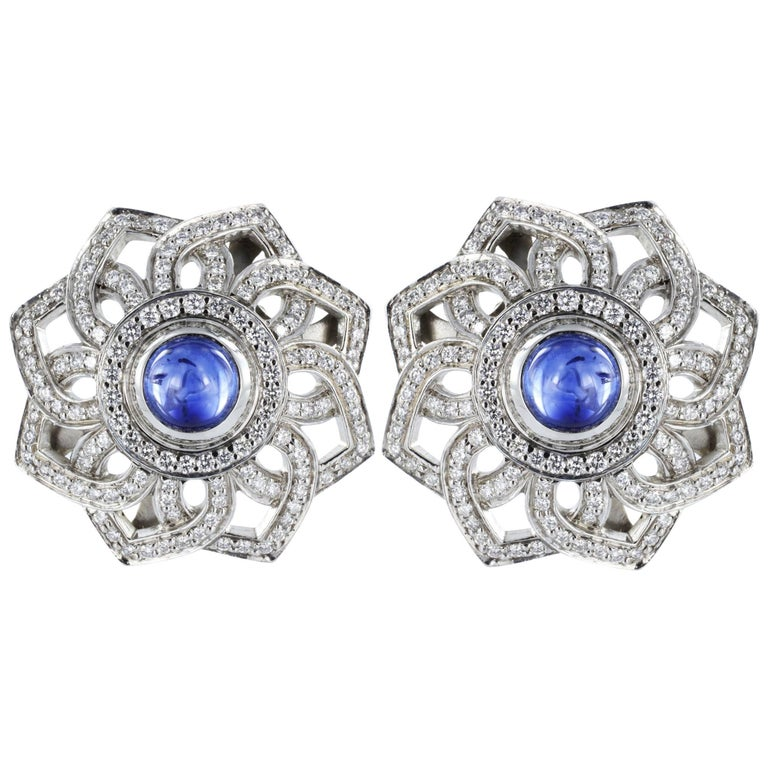 Platinum Cabochon Sapphire and Diamond Clip Earrings